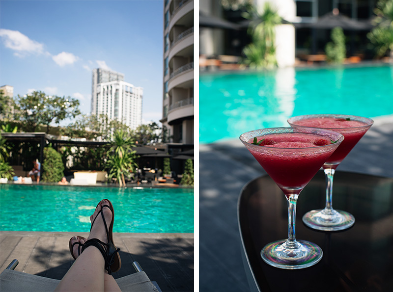 Anantara Sathorn Bangkok hotel Thailand pool area with strawberry daiquiri cocktails.
