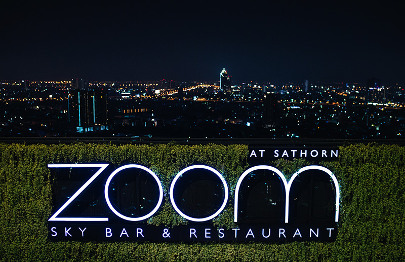 Anantara Sathorn Bangkok hotel Thailand Zoom skybar and restaurant views of city.