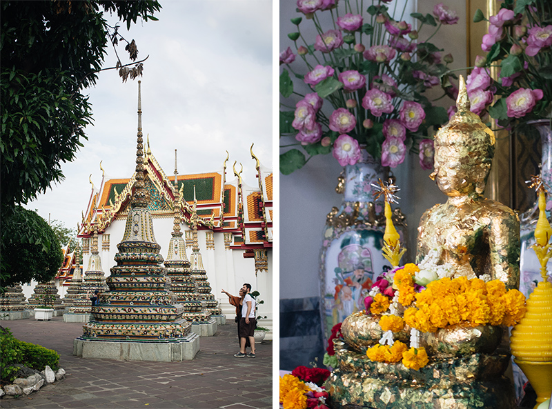 Temples of Bangkok Thailand, Wat Pho gold buddha statue with flowers and mosaic stupas.