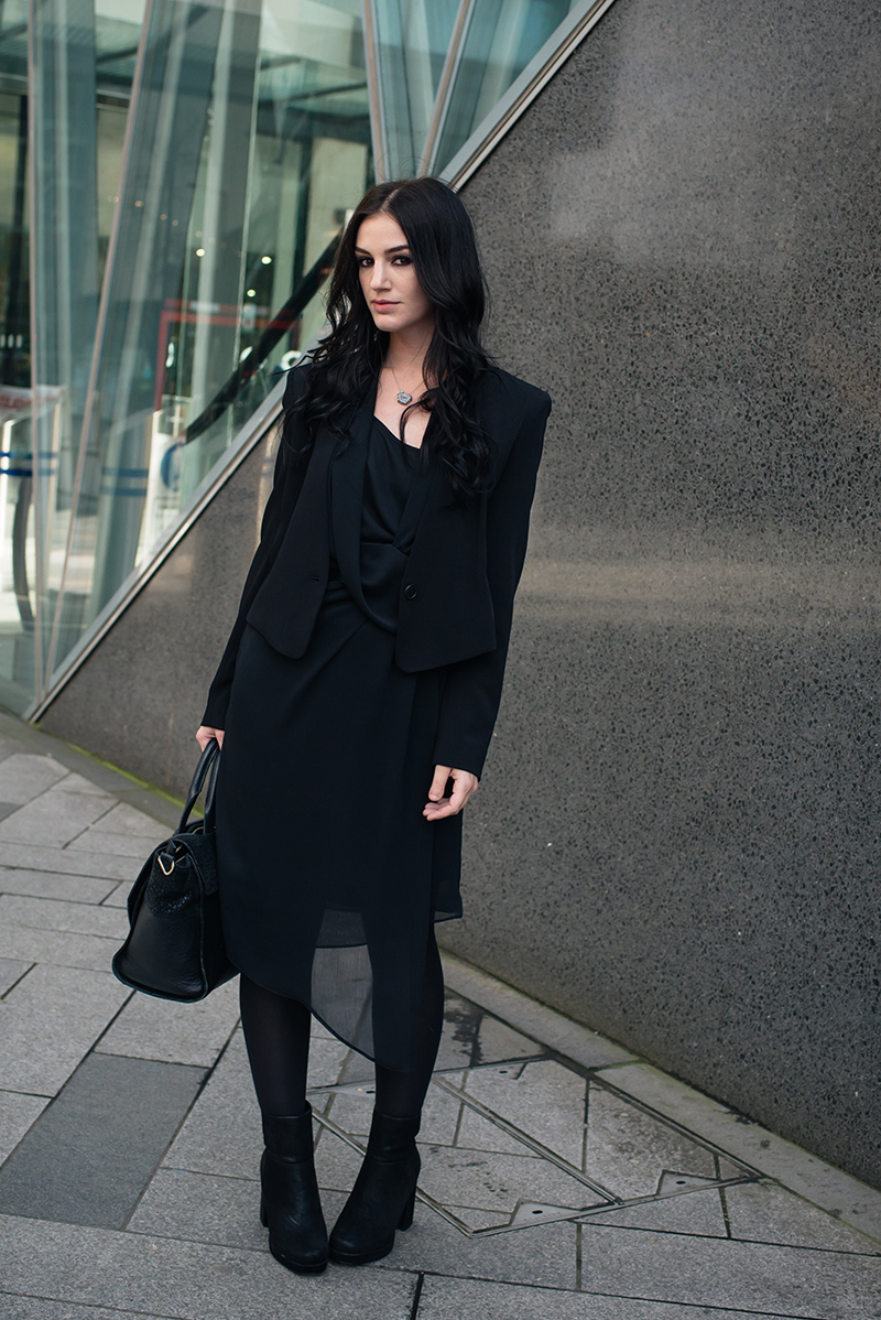 Fashion blogger Stephanie of FAIIINT wearing Theyskens' Theory cropped tailored jacket, River Island draped chiffon dress and nubuck platform boots. All black everything dark street style outfit.