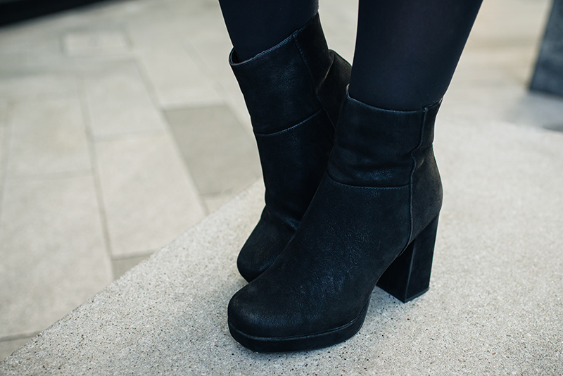 Fashion blogger Stephanie of FAIIINT wearing River Island platform black nubuck suede leather platform boots.