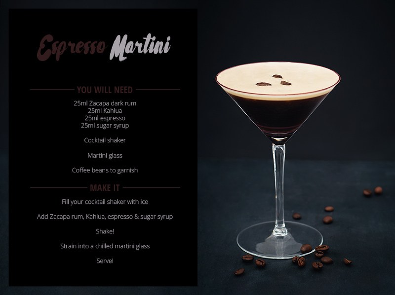 Rum cocktail recipe the dark rum Espresso Martini with Zacapa rum.
