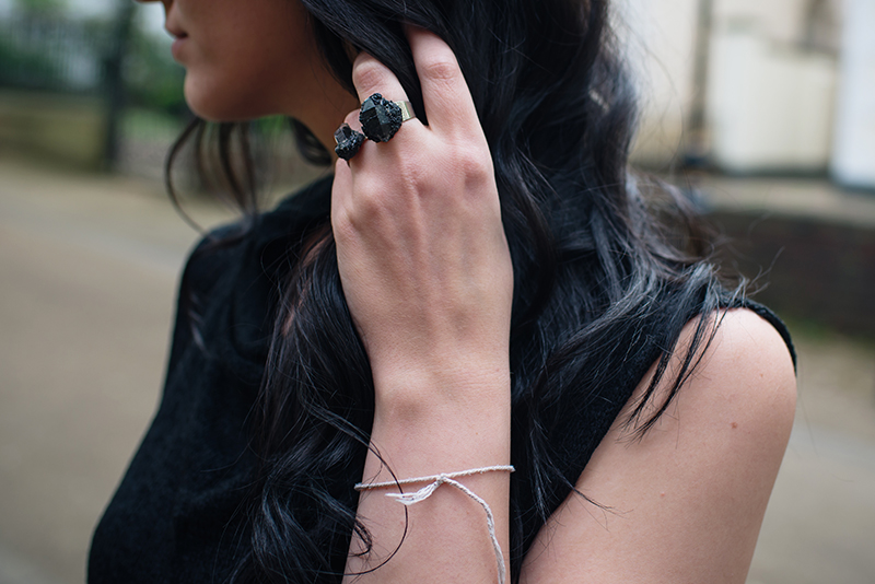 Dark style fashion blogger Stephanie of FAIIINT wearing Elemental Luxury black phantom quartz rings. Outfit details.