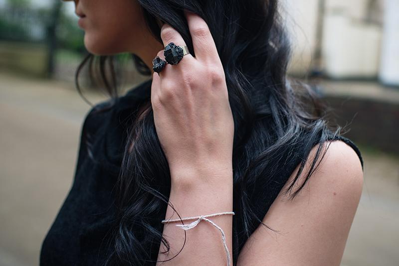 Dark style fashion blogger Stephanie of FAIIINT wearing Elemental Luxury black phantom quartz rings. Outfit details.