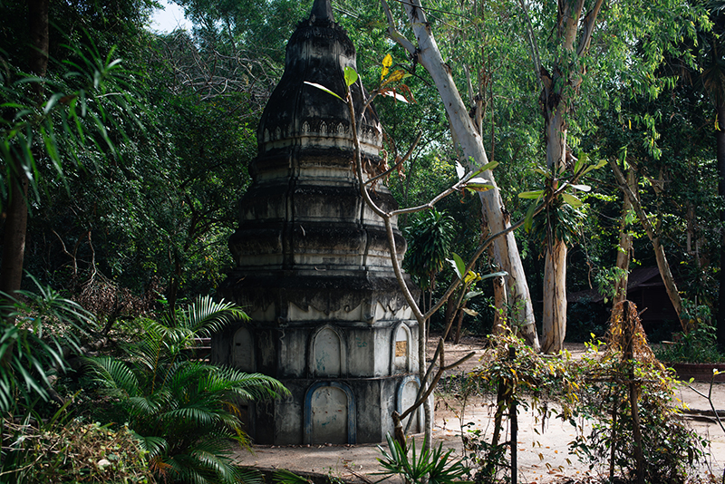 Siem Reap countryside in Cambodia, small stupa on temple grounds.