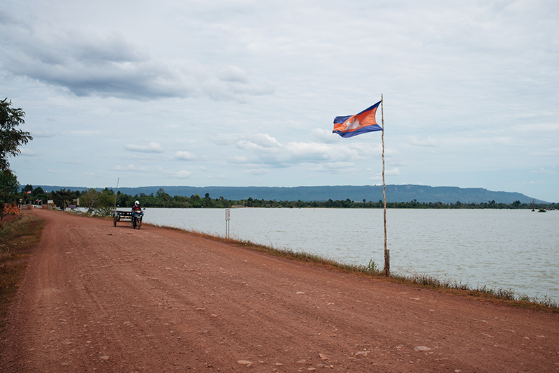 Countryside landscape in Siem Reap Cambodia by reservoir.