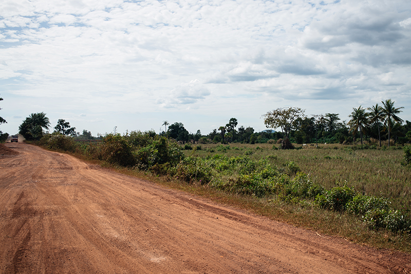 Countryside landscape in Siem Reap Cambodia, dusty roads.