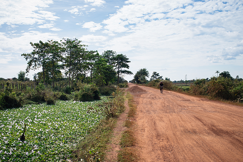 Countryside landscape in Siem Reap Cambodia, dusty sand roads.