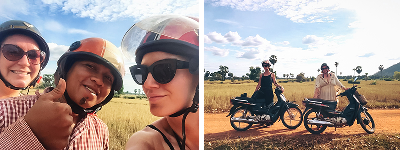 Motorbiking throught the Siem Reap countryside in Cambodia on a Honda Dream with Khmer Ways.