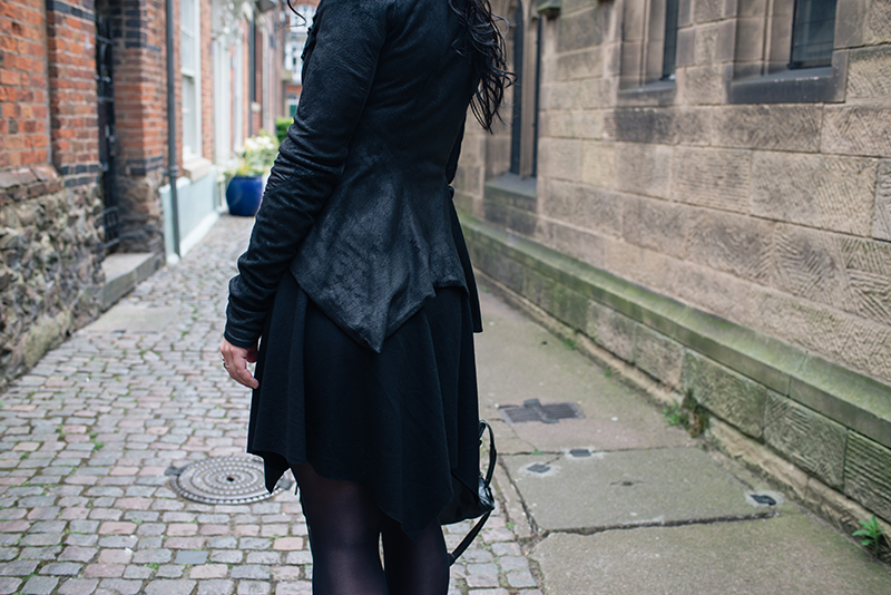 Dark style fashion blogger Stephanie of FAIIINT wearing Rick Owens Naska blistered lamb leather jacket, Helmut Lang drape skirt. All black street style outfit details.