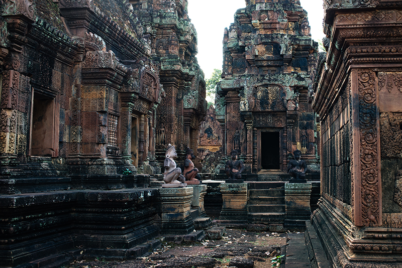Banteay Srei Citadel of Women beautiful carved pink sandstone Hindu temple in Siem Reap Cambodia.