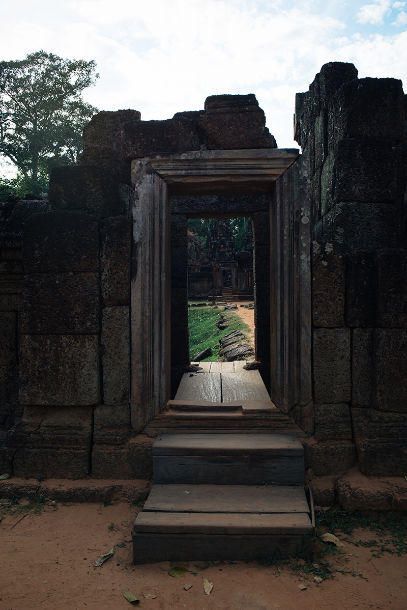 Banteay Srei Citadel of Women beautiful carved pink sandstone Hindu temple in Siem Reap Cambodia.