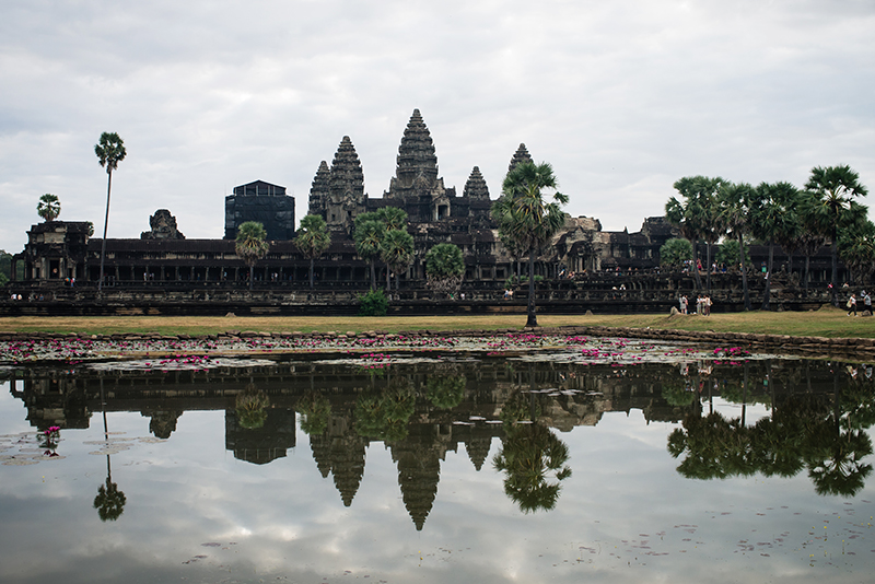 Early morning light sunrise at Angkor Wat temple complex Siem Reap Cambodia.