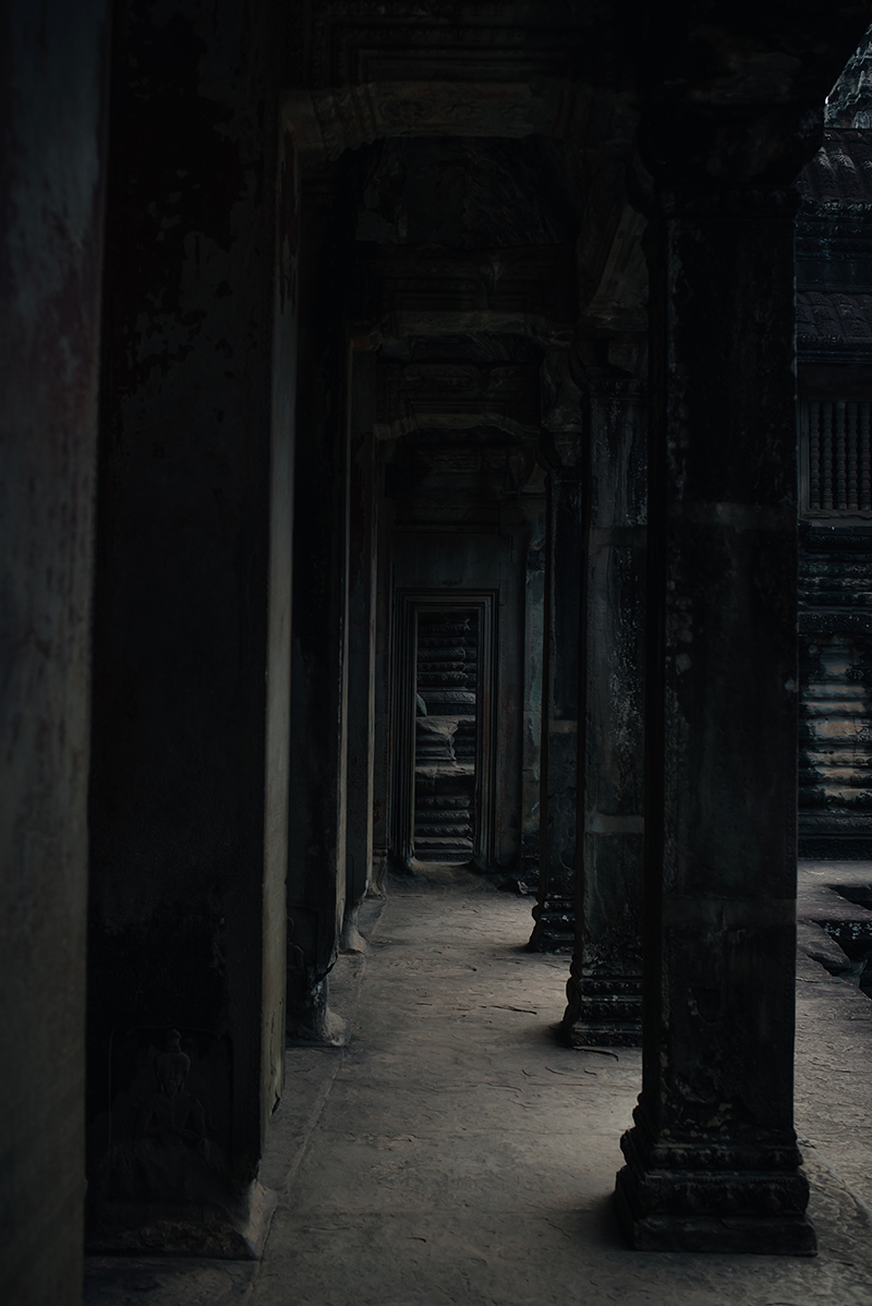 Doorways at Angkor Wat temple complex Siem Reap Cambodia.