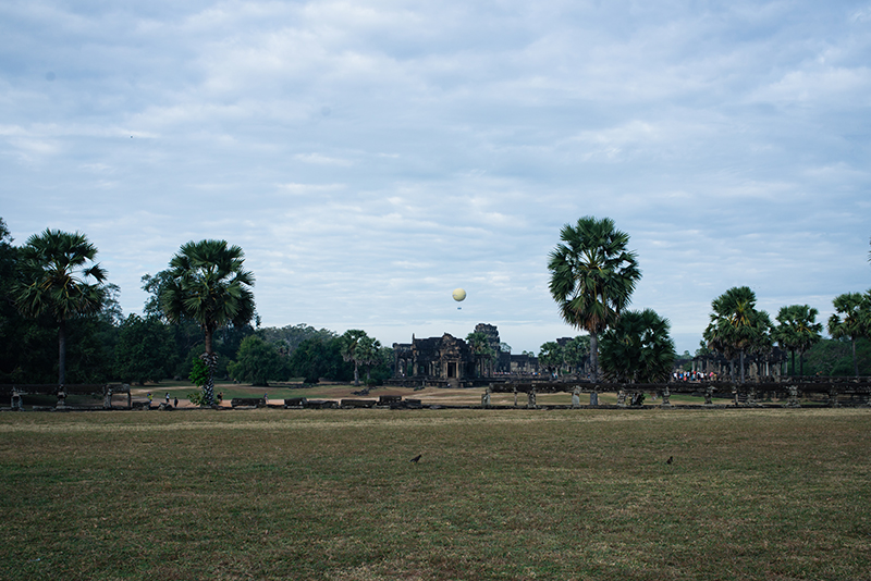 Hot Air Ballon over Angkor Wat temple complex Siem Reap Cambodia.