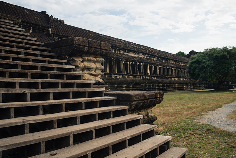 Steps at Angkor Wat temple complex Siem Reap Cambodia.