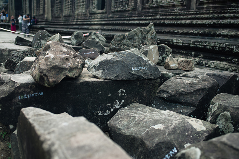 Stones labeled for renovation Angkor Wat temple complex Siem Reap Cambodia.