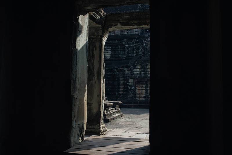 Doorway Angkor Wat temple complex Siem Reap Cambodia.