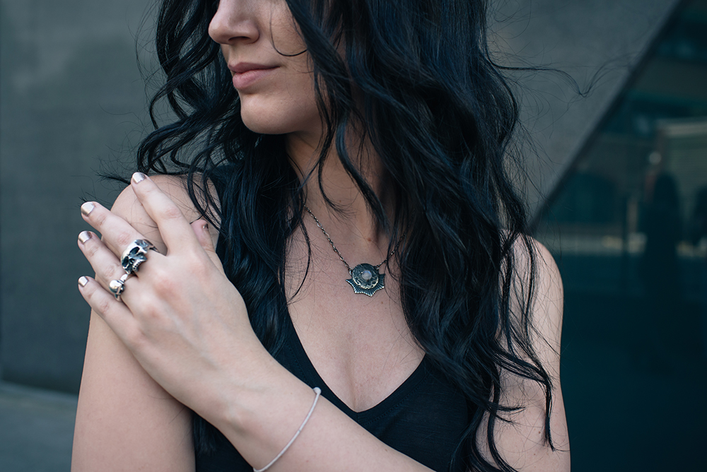 Fashion blogger Stephanie of FAIIINT wearing Toilworn jewellery large silver skull ring and mini skull ring and luna landing moon necklace. Outfit details.