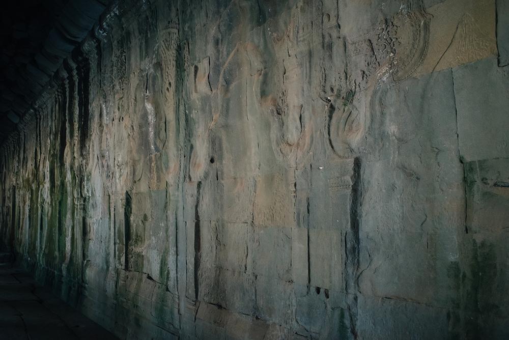 Ta Prohm temple Siem Reap Angkor Cambodia. Crumbling ruins.