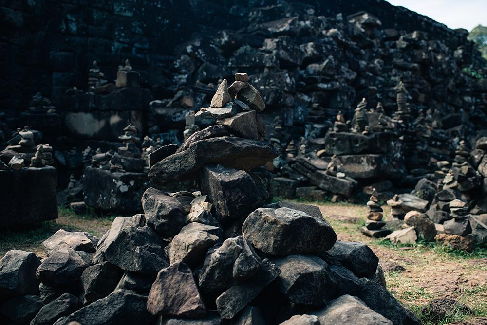 Bayon temple ruins Siem Reap Angkor Cambodia, stacking stone garden.