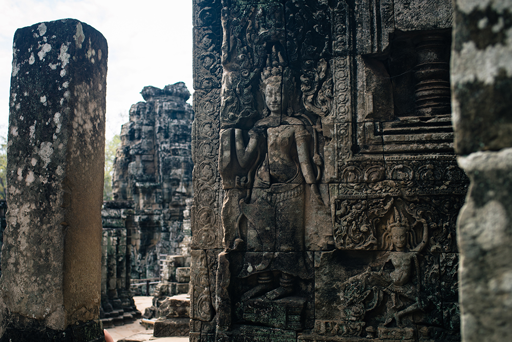 Bayon temple ruins Siem Reap Angkor Cambodia, details of carvings.