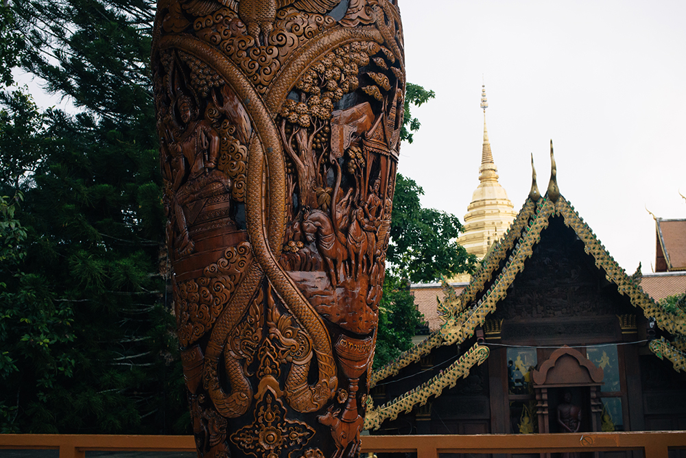 Wat Phra That Doi Suthep Chiang Mai Thailand carved wooden pillar.