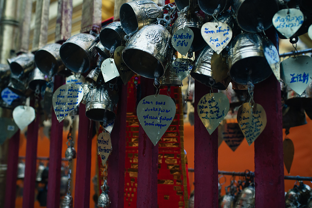 Wat Phra That Doi Suthep Chiang Mai Thailand bells and messages.