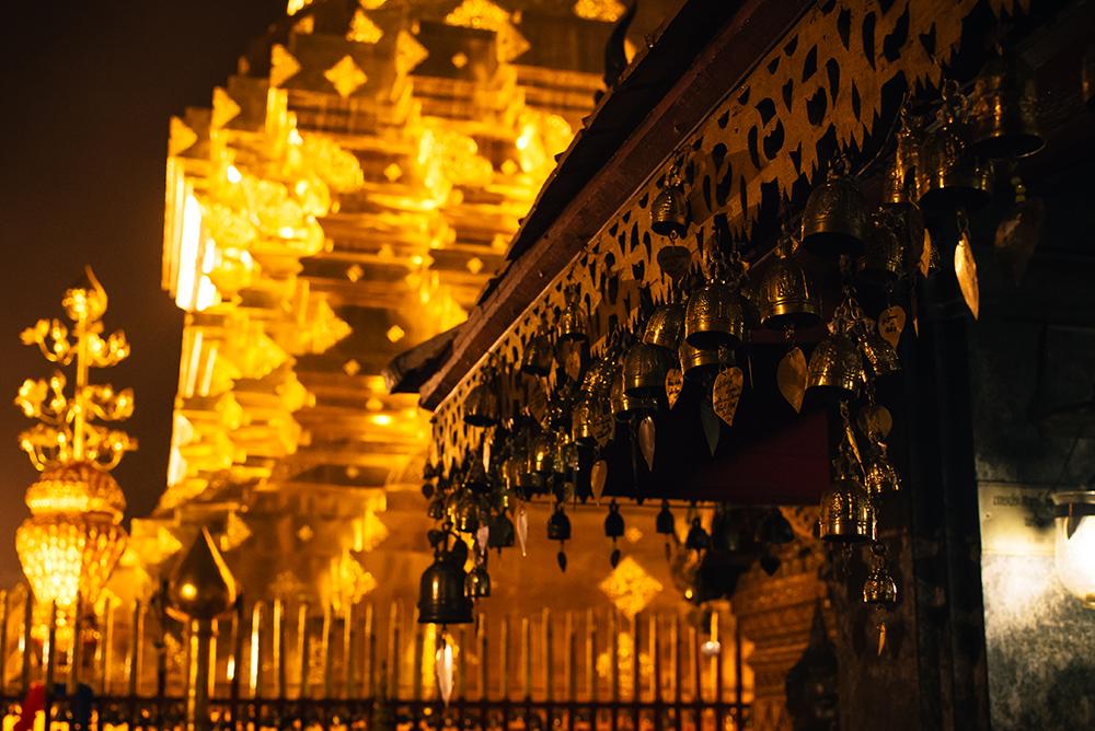Wat Phra That Doi Suthep at night Chiang Mai Thailand.