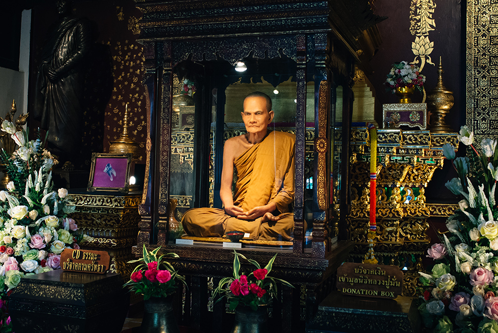 Waxwork of the Venerable Acharn Mun Bhuridatto Vihara at Wat Chedi Luang temple Chiang Mai Thailand.