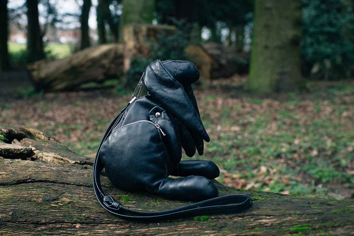 Christopher Raeburn black leather Hare rabbit bag.