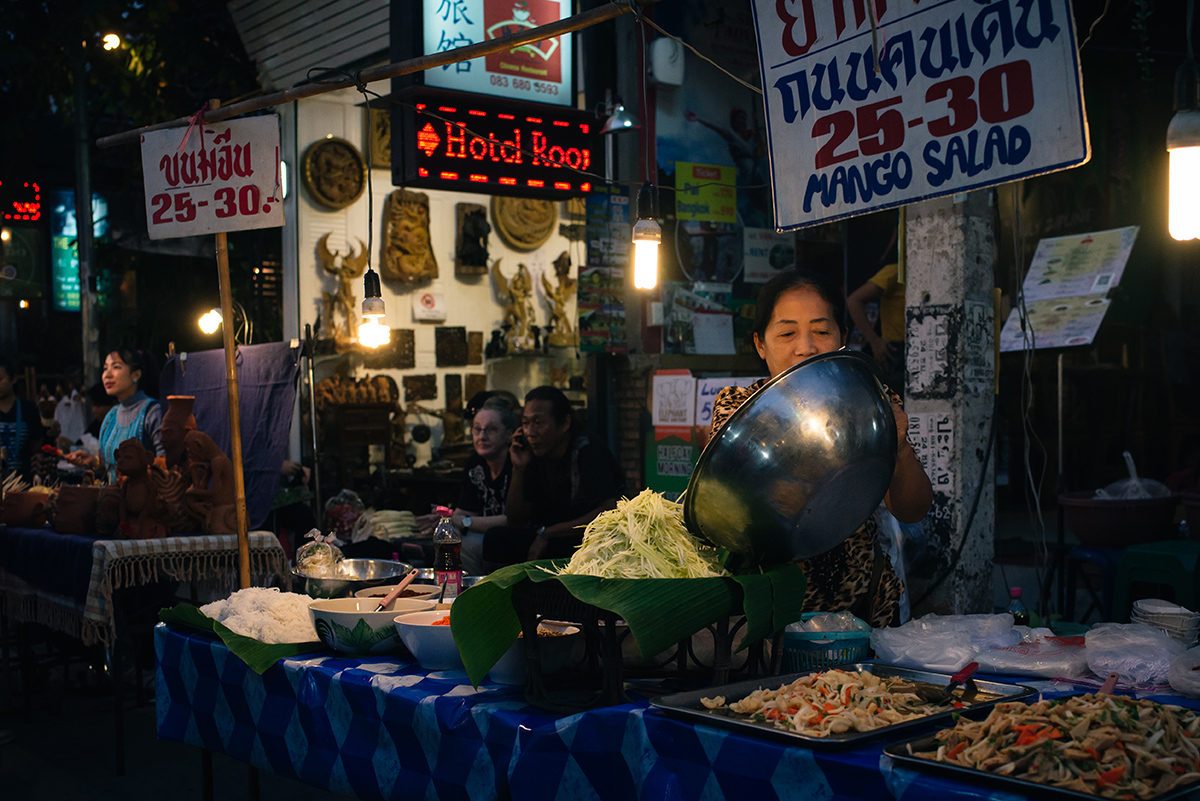 Chiang Mai Thailand sunday walking street market food stalls