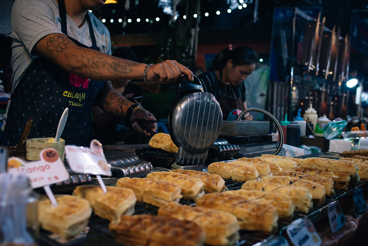 Chiang Mai Thailand sunday walking street market food stalls waffles