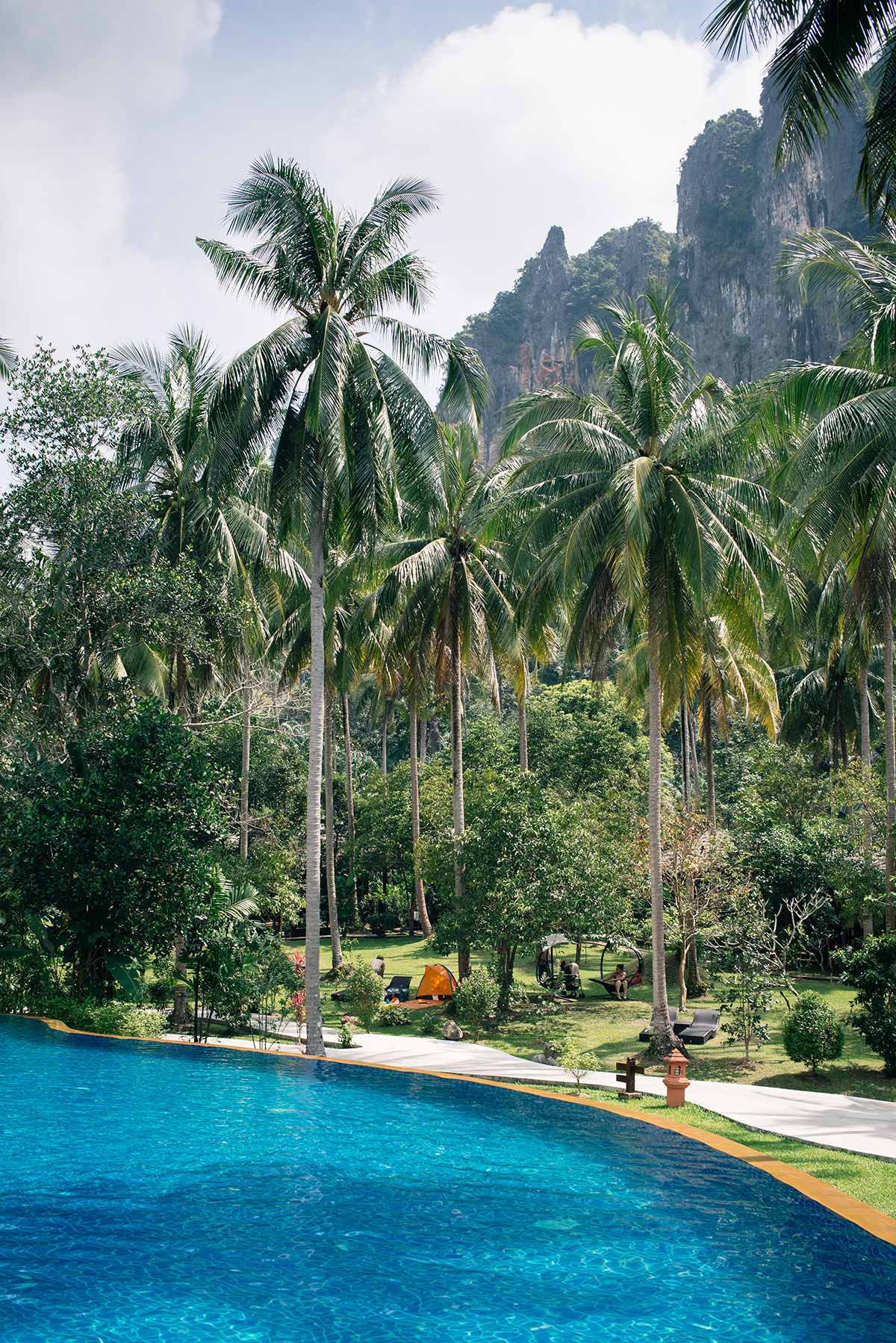 Ban Sainai Resort pool with palm trees and cliff view Ao Nang Krabi Thailand
