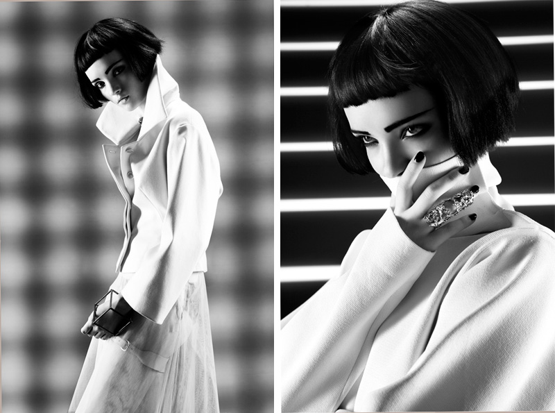 Umberto Barone for Bambi Magazine XIII, graphic novel comic book style fashion editorial, black & white, femme fatale, film noir