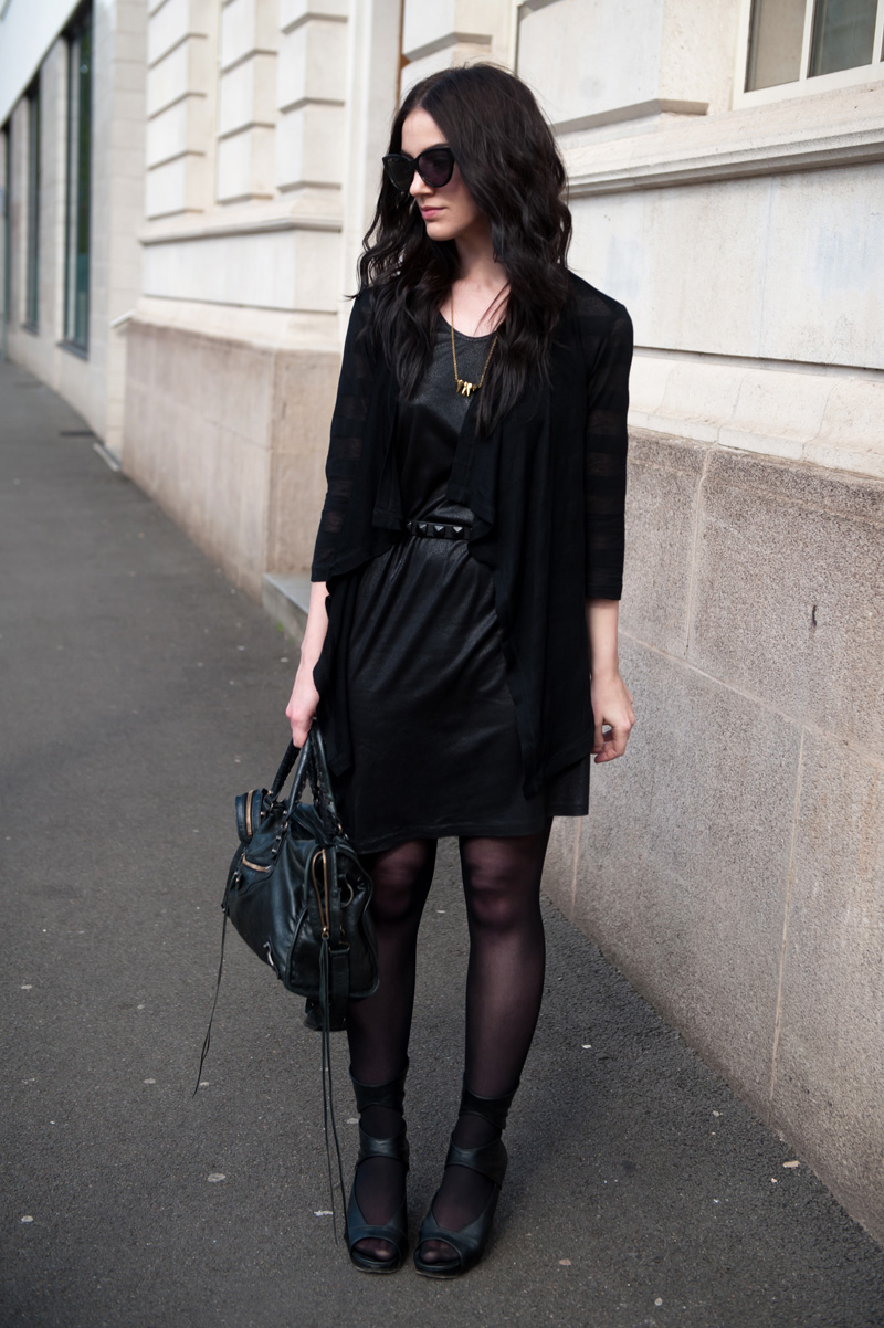 Fashion blogger FAIIINT wearing Bench striped 'shapelover' cardigan, Eksempel leather look dress, Topshop studded belt, Galibardy teeth necklace, Rick Owens wedges, AllSaints cateye sunglasses, Balenciaga city. All black, black on black, dark street style.