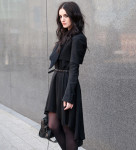 Fashion Blogger FAIIINT wearing Todd Lynn for Topshop Cropped Tux Jacket, ASOS Dipped Hem Dress, Topshop Studded Belt, Topshop Boots, AllSaints Silver Necklace, Balenciaga City Bag. Gothic, goth, dark fashion, all black, street style.