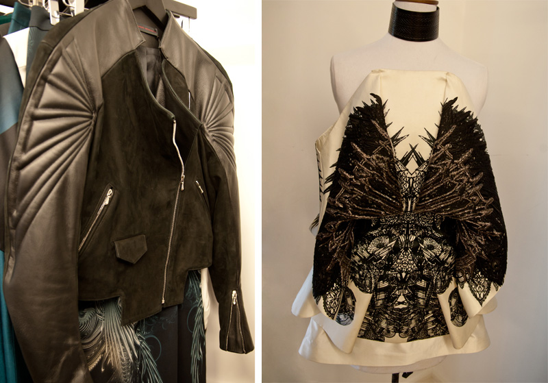 Trace Publicity Autumn Winter 2013 AW13 Press Day, Jean-Pierre Braganza quilted leather & suede jacket, Fyodor Golan Embellished dress