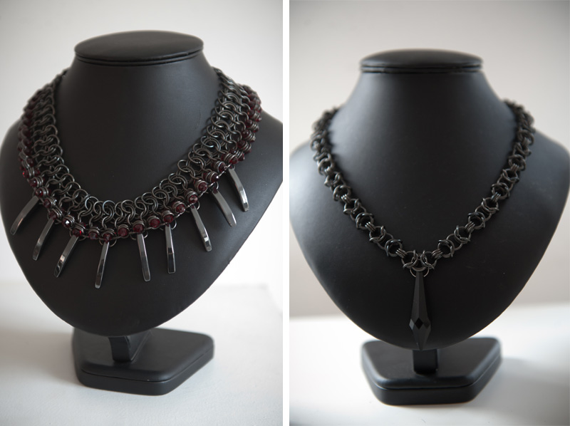 Trace Publicity Autumn Winter 2013 AW13 Press Day, Fannie Schiavoni necklaces, gunmetal with red jewels, spikes, choker
