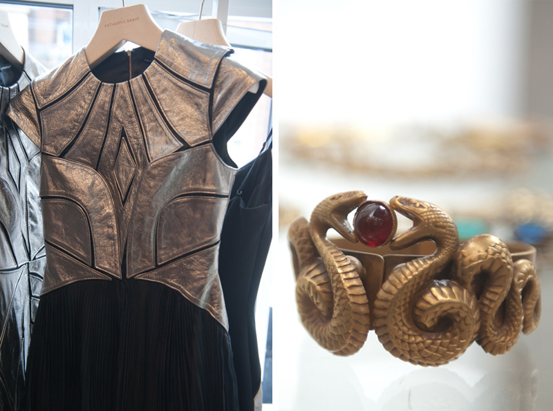 Dust PR AW13 Press Day, Catherine Deane Dresses with pewter metallic leather panelling & black mesh inserts, Vintage Seekers snake cuff costume jewellery, FAIIINT