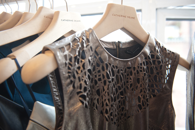 Dust PR AW13 Press Day, Catherine Deane Dresses in pewter metallic leather with laser cut detail, FAIIINT