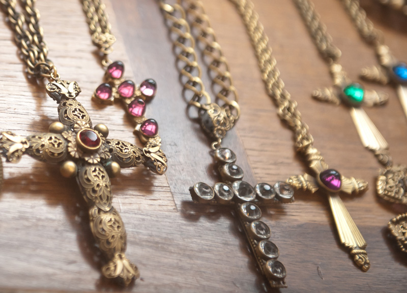Dust PR AW13 Press Day Vintage Seekers cross crucifix necklaces, costume jewellery, gold with red, clear, purple glass stones