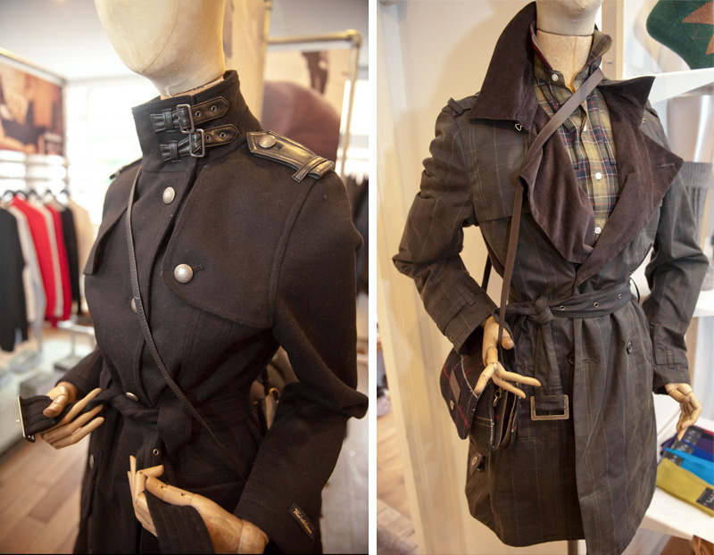 Dust PR AW13 Press Day, Barbour black military wool trench coat with leather detailing & brown checked waxed cotton trench jacket with shirt