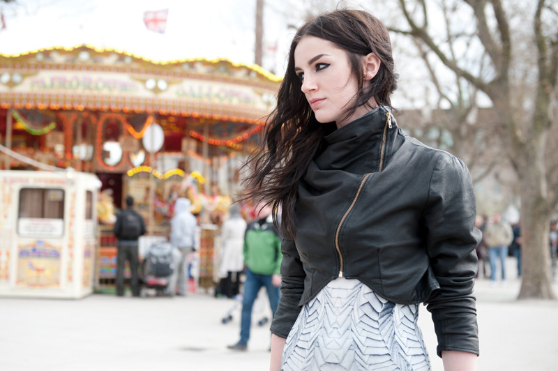 Fashion blogger FAIIINT wearing handmade DIY draped cropped leather jacket, Georgia Hardinge for River Island Design Forum printed tee shirt dress Sci fi, gothic, dark street style