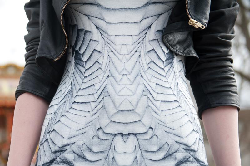Fashion blogger FAIIINT wearing handmade DIY draped cropped leather jacket, Georgia Hardinge for River Island Design Forum printed tee shirt dress, Sci fi, gothic, dark street style