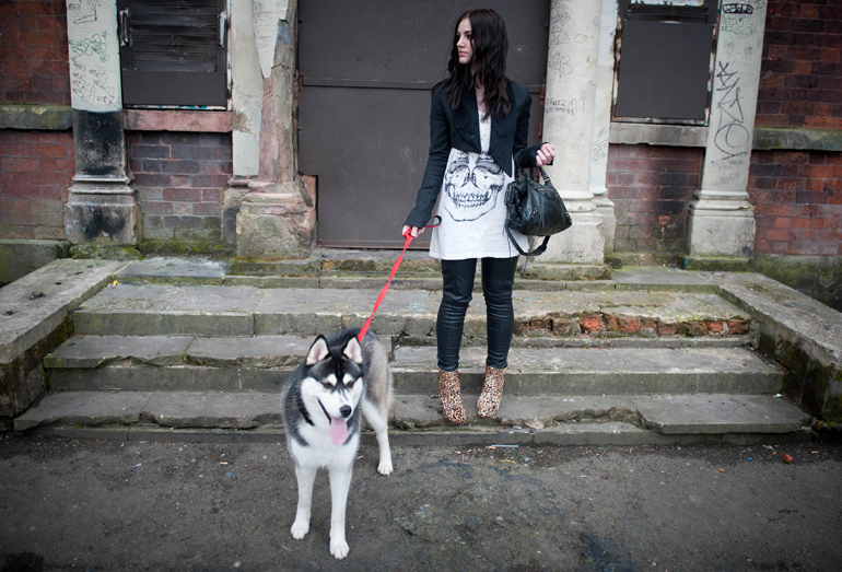 FAIIINT, Skull, Leopard, Topshop, Tux Jacket, Faux Fur, Illustrated People, Tee, T-Shirt, Faux Leather, Leggings, River Island, Balenciaga, Bag, City, Outfit, Todd Lynn for Topshop, Siberian Husky, Puppy, Dog Walk