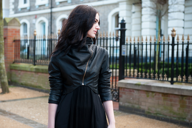 Gothic Street Style Outfit - FAIIINT Handmade Cropped & Draped Leather Jacket with ASOS Maxi Dress