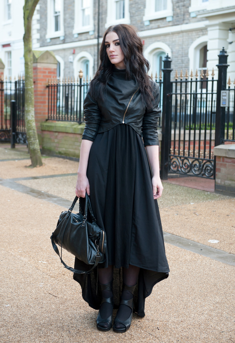 Gothic Street Style Outfit - FAIIINT Handmade Cropped & Draped Leather Jacket with ASOS Maxi Dress, Rick Owens Cut Out Wedges & Balenciaga City Bag