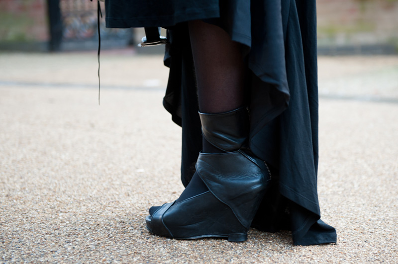 Gothic Street Style Outfit FAIIINT - ASOS Maxi Dress, Rick Owens Cut Out Wedges