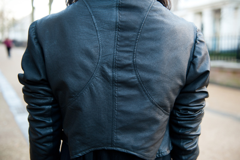 Gothic Street Style Outfit - FAIIINT Handmade Cropped & Draped Leather Jacket Detail